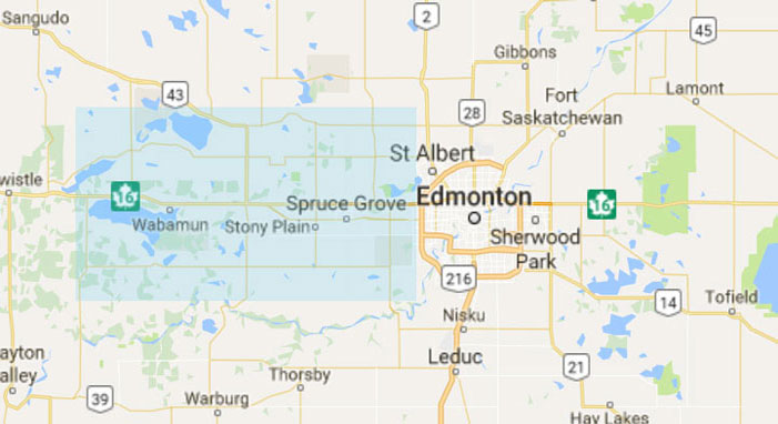Our service area include Spruce Grove, Stony Plain and Parkland County